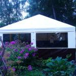 Изготовление и установка каркасно-тентового шатра для сада, размером 5х10 метров, на заказ в Московской области