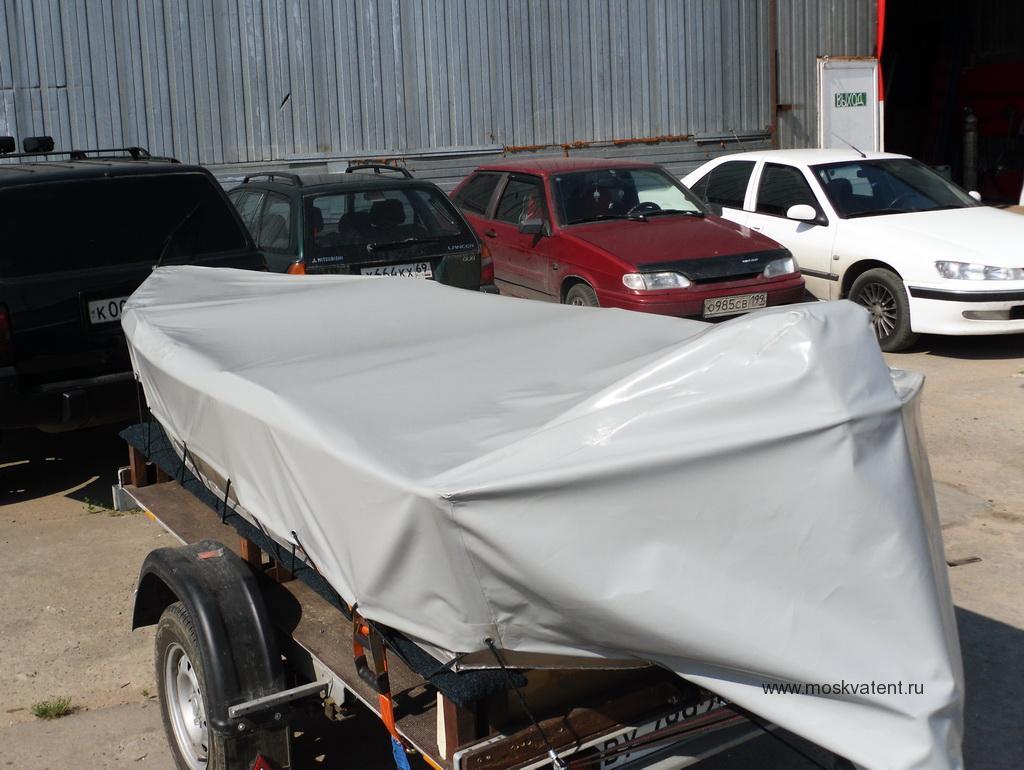 Транспортировочный тент на лодку из ПВХ-ткани. Изготовлен на заказ в Москве