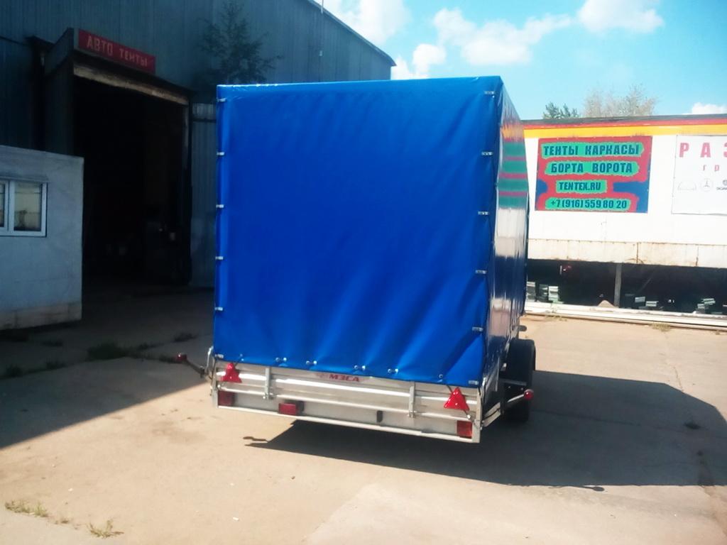 Высокий каркас и тент для легкового прицепа МЗСА для перевозки багги. Изготовлено и смонтировано в Москве компанией «Москватент»