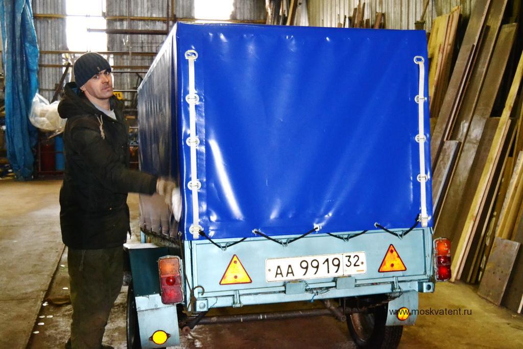 Изготовление и установка тента и каркаса на автоприцеп МЗСА в Москве