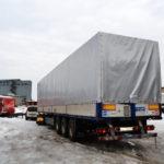 Изготовление и установка тента-мешка на полуприцеп Krone в Москве на заказ, тент серого цвета с белой крышей из ткани-ПВХ плотностью 650 гр./м2